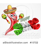 Vector Illustration of a 3d Mexican Flag Colored Happy Cinco De Mayo Text Design with a Chili Pepper Mascot Holding Maracas by AtStockIllustration
