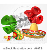 Vector Illustration of a 3d Mexican Flag Colored Happy Cinco De Mayo Text Design with a Sombrero and Maracas by AtStockIllustration