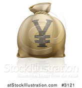 Vector Illustration of a 3d Money Bag with a Yen Currency Symbol and Reflection by AtStockIllustration