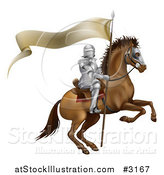 Vector Illustration of a 3d Mounted Knight with a Banner Flag by AtStockIllustration
