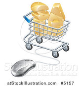 Vector Illustration of a 3d Mouse Wired to a Shopping Cart with Golden SALE by AtStockIllustration