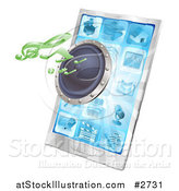 Vector Illustration of a 3d Music Notes and Speaker Emerging from a Cell Phone by AtStockIllustration