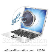 Vector Illustration of a 3d Music Speaker Emerging from a Laptop Computer by AtStockIllustration