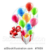Vector Illustration of a 3d Open Gift Box with Streamers and Colorful Party Balloons by AtStockIllustration