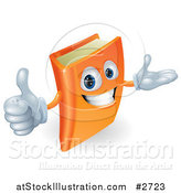 Vector Illustration of a 3d Orange Book Character Smiling and Holding a Thumb up by AtStockIllustration