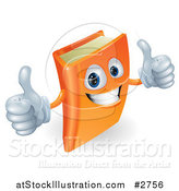 Vector Illustration of a 3d Orange Book Character Smiling and Holding Two Thumbs up by AtStockIllustration