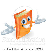Vector Illustration of a 3d Orange Book Character Smiling and Shrugging by AtStockIllustration