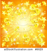 Vector Illustration of a 3d Orange Burst of Dollar Currency Symbols and Stars by AtStockIllustration