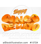 Vector Illustration of a 3d Orange Happy Cinco De Mayo Text Design by AtStockIllustration