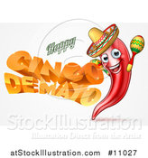 Vector Illustration of a 3d Orange Happy Cinco De Mayo Text with a Chile Pepper Character Wearing a Sombrero and Playing Maracas by AtStockIllustration