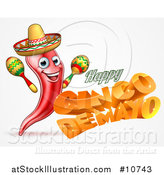 Vector Illustration of a 3d Orange Happy Cinco De Mayo Text with a Sombrero and Maracas by AtStockIllustration