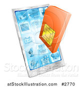 Vector Illustration of a 3d Orange Sim Card over a Smart Phone by AtStockIllustration