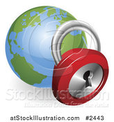 Vector Illustration of a 3d Padlock and Globe Featuring the Atlantic by AtStockIllustration