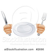 Vector Illustration of a 3d Pair of Hands Holding a Knife and Fork by a Plate by AtStockIllustration
