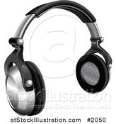 Vector Illustration of a 3d Pair of Silver and Black Headphones by AtStockIllustration
