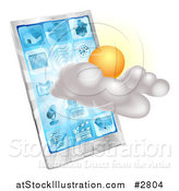 Vector Illustration of a 3d Partly Sunny or Cloudy Cellphone Weather Forecast Application by AtStockIllustration