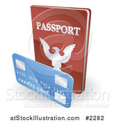 Vector Illustration of a 3d Passport Book and Credit Card by AtStockIllustration