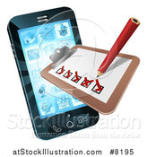 Vector Illustration of a 3d Pencil and Survey Check List Emerging from a Smart Phone Screen by AtStockIllustration