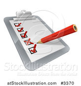 Vector Illustration of a 3d Pencil Checking off Boxes on a Clipboard Poll by AtStockIllustration