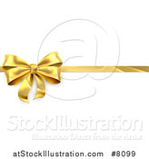 Vector Illustration of a 3d Perfect Gold Christmas, Birthday or Other Holiday Bow and Ribbon on a Gift, over Shaded White by AtStockIllustration
