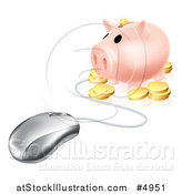 Vector Illustration of a 3d Piggy Bank with Coins Connected to a Computer Mouse by AtStockIllustration