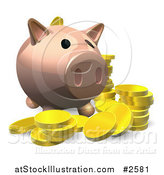 Vector Illustration of a 3d Piggy Bank with Gold Coins by AtStockIllustration