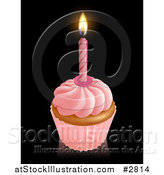 Vector Illustration of a 3d Pink Frosted Birthday Cupcake with a Lit Candle by AtStockIllustration