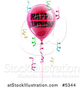 Vector Illustration of a 3d Pink Party Balloons and Confetti Ribbons with Happy Birthday Text by AtStockIllustration