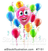 Vector Illustration of a 3d Pink Smiling Happy Birthday Balloon Character with Other Balloons and Ribbons by AtStockIllustration