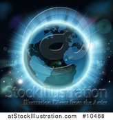 Vector Illustration of a 3d Planet Earth with Bright Rays and Flares by AtStockIllustration