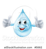 Vector Illustration of a 3d Pleased Blue Water Drop Character Holding Two Thumbs up by AtStockIllustration