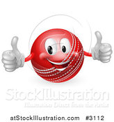 Vector Illustration of a 3d Pleased Cricket Ball Mascot Holding Two Thumbs up by AtStockIllustration