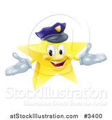 Vector Illustration of a 3d Police Star Mascot by AtStockIllustration