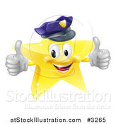 Vector Illustration of a 3d Police Star Mascot Holding Two Thumbs up by AtStockIllustration