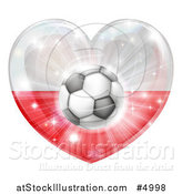 Vector Illustration of a 3d Polish Flag Heart and Soccer Ball by AtStockIllustration