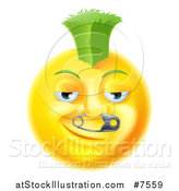 Vector Illustration of a 3d Punk Yellow Smiley Emoji Emoticon Face with a Safety Pin in His Nose and a Green Mohawk by AtStockIllustration