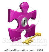 Vector Illustration of a 3d Purple Puzzle Piece Lock with a Skeleton Key by AtStockIllustration