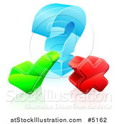 Vector Illustration of a 3d Question Mark with a Check and X by AtStockIllustration