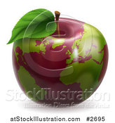 Vector Illustration of a 3d Red Apple Globe with Green Continents by AtStockIllustration