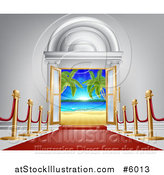Vector Illustration of a 3d Red Carpet Leading to a Doroway with a Tropical Beach by AtStockIllustration