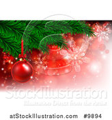 Vector Illustration of a 3d Red Christmas Bauble on a Tree Branch over Red with Snowflakes by AtStockIllustration