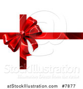 Vector Illustration of a 3d Red Christmas, Birthday or Other Holiday Gift Bow and Ribbon on Shaded White by AtStockIllustration