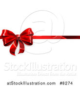 Vector Illustration of a 3d Red Christmas, Birthday or Other Holiday Gift Bow and Ribbon on White by AtStockIllustration