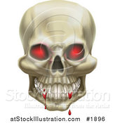 Vector Illustration of a 3d Red Eyed Skull with Blood on the Teeth by AtStockIllustration