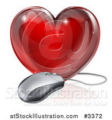 Vector Illustration of a 3d Red Glass Heart and Computer Mouse by AtStockIllustration