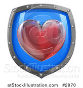 Vector Illustration of a 3d Red Heart on a Blue and Chrome Shield by AtStockIllustration