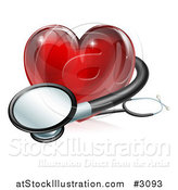 Vector Illustration of a 3d Red Medical Heart with a Stethoscope by AtStockIllustration
