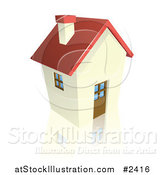 Vector Illustration of a 3d Red Roofed Cottage House by AtStockIllustration