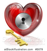 Vector Illustration of a 3d Red Shiny Heart and Gold Key with a Keyhole by AtStockIllustration