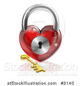 Vector Illustration of a 3d Red Shiny Heart Padlock and Gold Key with a Reflection by AtStockIllustration